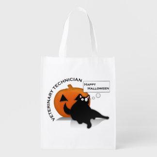 happy halloween vet tech reusable shopping bag