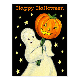 Happy Halloween Vintage Ghost and Pumpkin Postcard