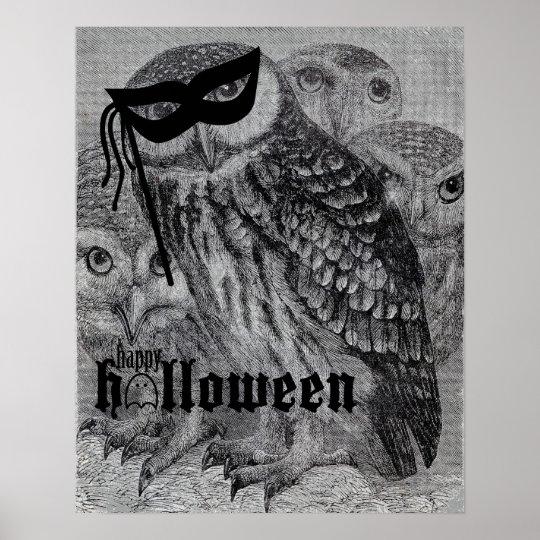 Happy Halloween Vintage Owl Poster