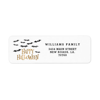 Happy Halloween Watercolor Bats Return Address Label
