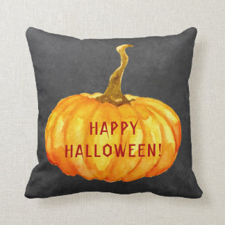 Happy Halloween watercolor pumpkins chalkboard Cushion