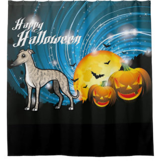 Happy Halloween Whippet Shower Curtain