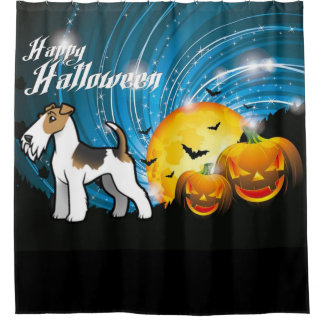 Happy Halloween Wire Fox Terrier Shower Curtain