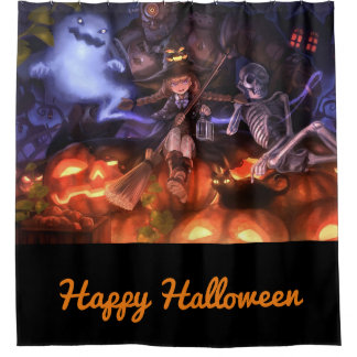 Happy Halloween Witch and Friends Shower Curtain