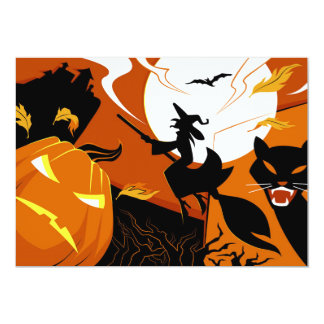 Happy Halloween witch, bats and pumpkins Card