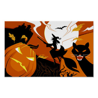 Happy Halloween witch, bats and pumpkins Poster