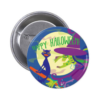 HAPPY HALLOWEEN WITCH BUTTON
