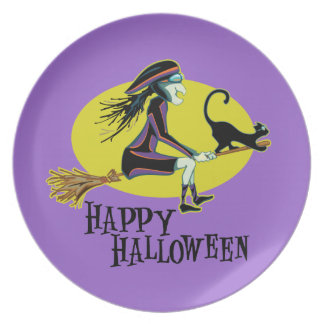 Happy Halloween Witch Dinner Plate