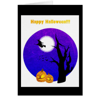 Happy Halloween Witch Flying by Full Moon Card