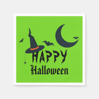 Happy Halloween Witch Hat Bats Moon Neon Green Disposable Napkin