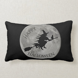 Happy Halloween Witch Moon Spider Pillow