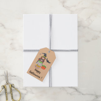 Happy Halloween witch personalized gift tags