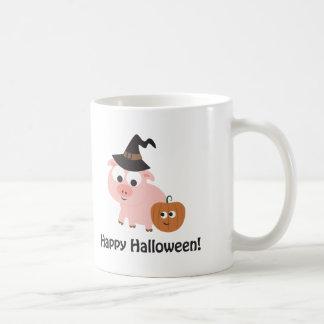 Happy Halloween Witch Pig Coffee Mug