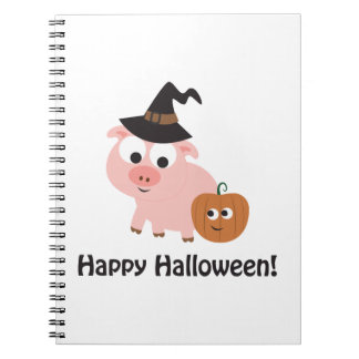 Happy Halloween Witch Pig Note Book