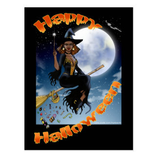Happy Halloween Witch Postcard