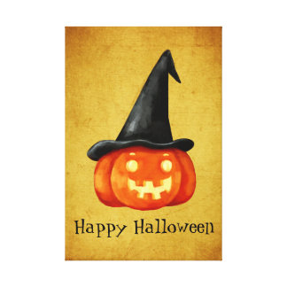 Happy Halloween Witch Pumpkin Gallery Wrapped Canvas