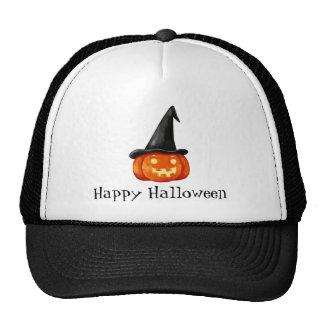 Happy Halloween Witch Pumpkin Mesh Hat