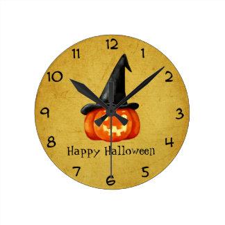 Happy Halloween Witch Pumpkin Round Clock