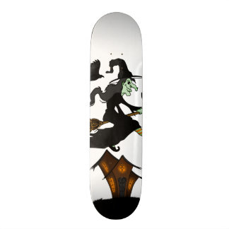Happy halloween Witch Riding to Broomstick Skate Deck