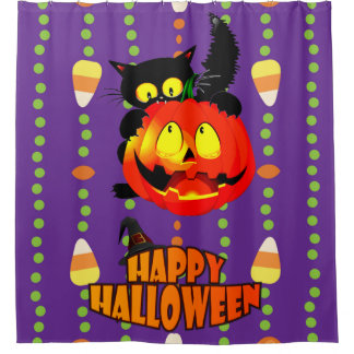 Happy Halloween Witches Cat Shower Curtain