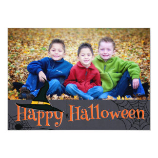 Happy Halloween Witches Hat photo card 13 Cm X 18 Cm Invitation Card