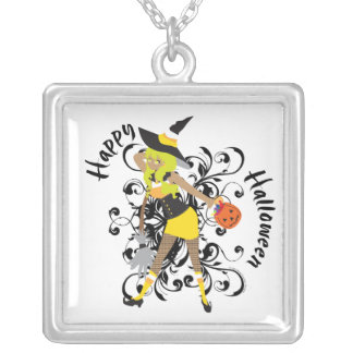 Happy Halloween Witchy Candy Corn Girl Pendant