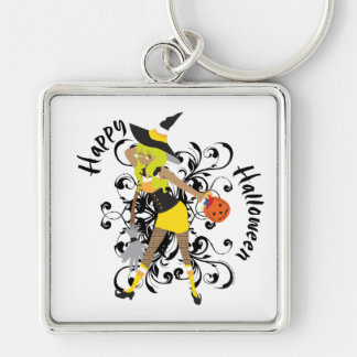 Happy Halloween Witchy Candy Corn Girl Swirls Silver-Colored Square Key Ring