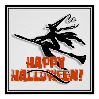 Happy Halloween Witchy Silhouette Poster
