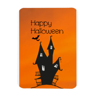 Happy Halloween with a Haunted Witches House Rectangular Magnets