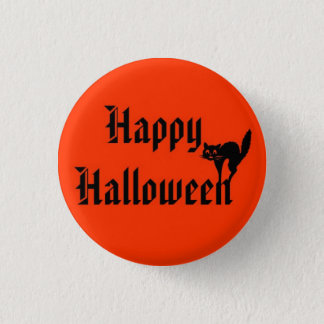 Happy Halloween with black cat 3 Cm Round Badge