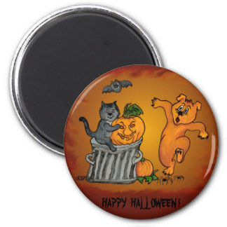Happy Halloween with Cat Bat Dog and Spider 6 Cm Round Magnet