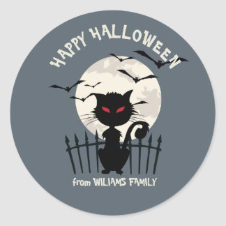 Happy Halloween With Cat With Fool Moon Round Sticker