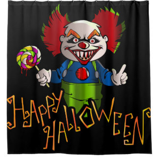 Happy Halloween with Clown Shower Curtain