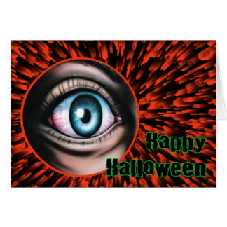 Happy Halloween with frightened eye Greeting Card