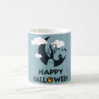 Happy Halloween with moon and graveyard Basic White Mug