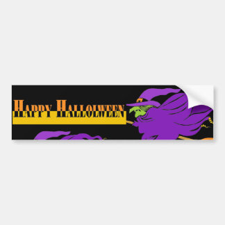 Happy Halloween with Purple Witch Bumper Sticker