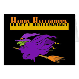 Happy Halloween with Purple Witch Greeting Card