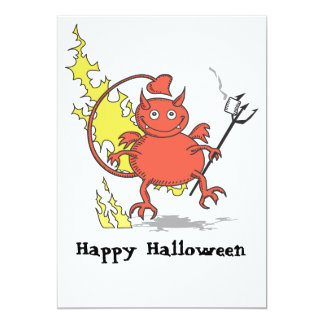 Happy Halloween with Seymour the Little Red Devil 13 Cm X 18 Cm Invitation Card