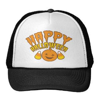 Happy Halloween with smiling Pumpkin candy corn Cap