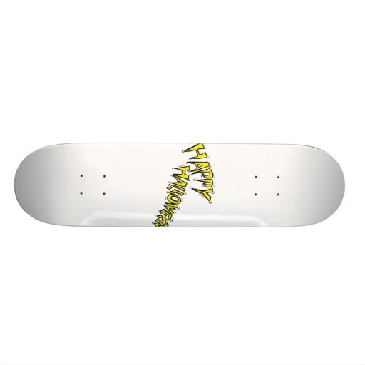 happy halloween yellow text arced skate board