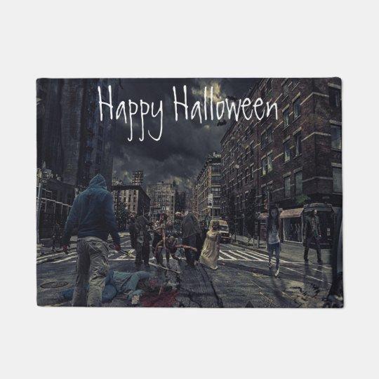 Happy Halloween Zombie Apocalypse Door Mat
