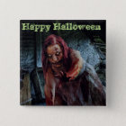 Happy Halloween Zombie Girl Button