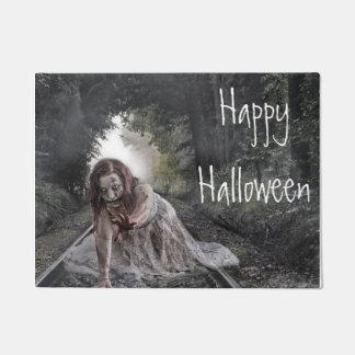 Happy Halloween Zombie Girl Door Mat