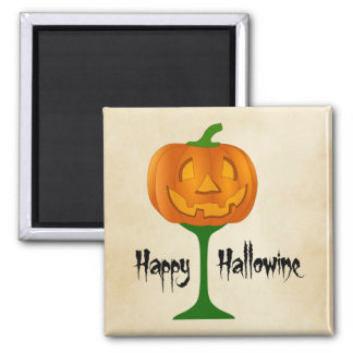 Happy Hallowine Pumpkin Wine Glass Halloween Magnet