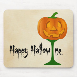 Happy Hallowine Pumpkin Wine Glass Halloween Mouse Pad