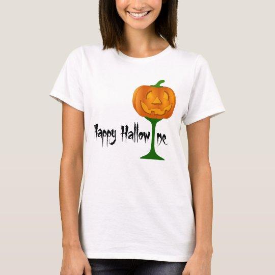 Happy Hallowine Pumpkin Wine Glass Halloween T-Shirt