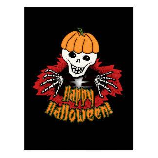 Happy Haloween Skeleton Postcard