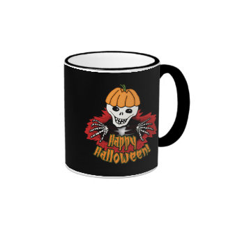 Happy Haloween Skeleton Ringer Mug