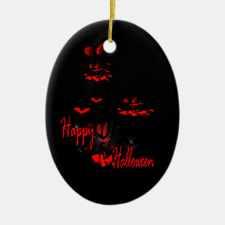 Happy Haloween vector art oval ornamnet Ceramic Oval Decoration