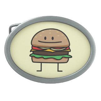 Happy Hamburger Oval Belt Buckles